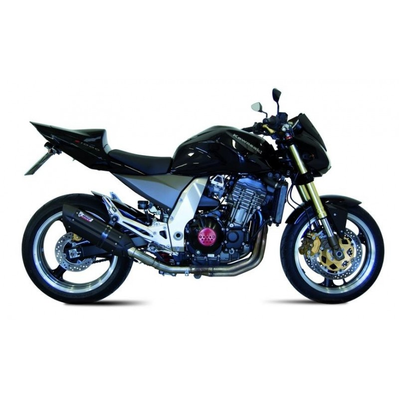 PAIR OF EXHAUST SYSTEMS MIVV SUONO BLACK FOR KAWASAKI Z 1000 2003/2006, APPROVED