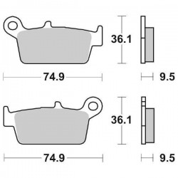 SINTERED REAR BRAKE PADS SET SBS 604 SI FOR KAWASAKI KLX 300 1999/2002