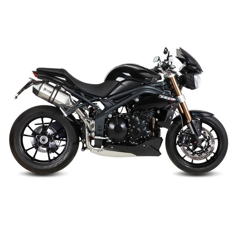 PAIR OF MIVV SPEED EDGE EXHAUST PIPES IN STAINLESS STEEL CARBON BASE FOR TRIUMPH SPEED TRIPLE 1050 2011/2015, APPROVED