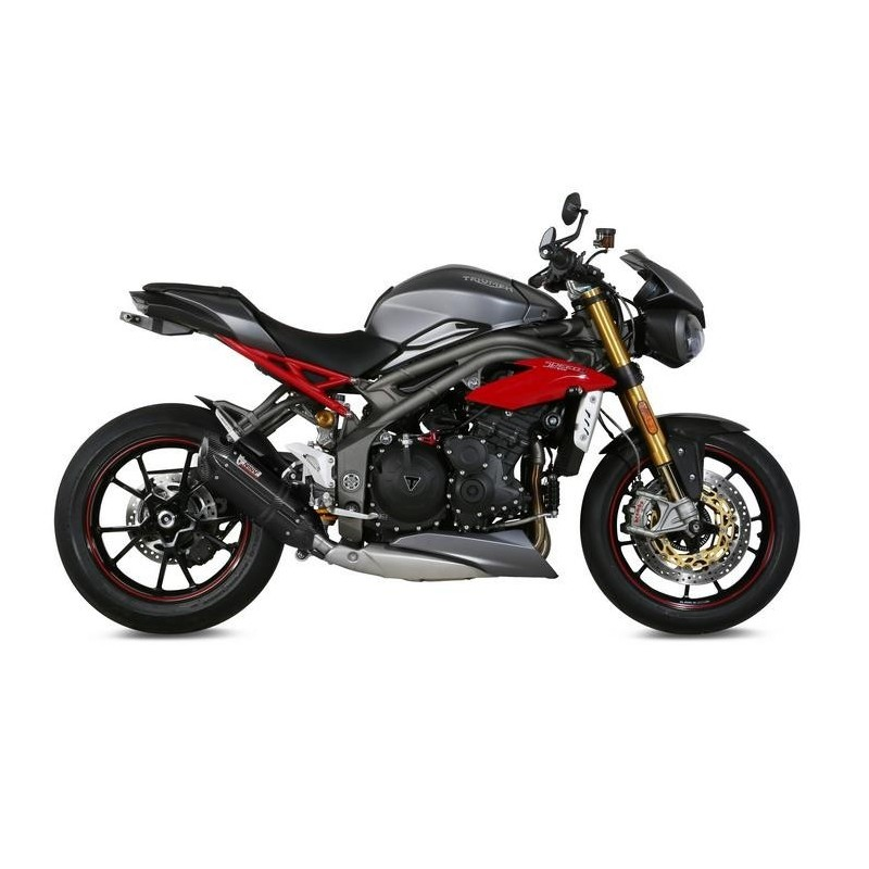 EXHAUST TERMINAL MIVV SOUND BLACK LOW PASSAGE FOR TRIUMPH SPEED TRIPLE R 2016/2018, APPROVED