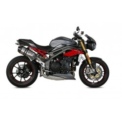 PAIR OF MIVV SPEED EDGE EXHAUST PIPES IN STAINLESS STEEL CARBON BASE FOR TRIUMPH SPEED TRIPLE R 2016/2018, APPROVED