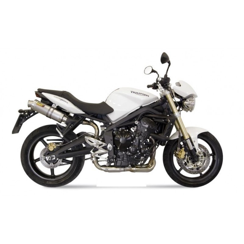 PAIR OF MIVV GP EXHAUST SYSTEMS IN TITANIUM FOR TRIUMPH STREET TRIPLE 675/R 2008/2012, APPROVED