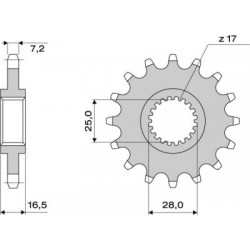 STEEL FRONT SPROCKET FOR ORIGINAL CHAIN 525 FOR KTM 950 SUPERMOTO, 990 SUPER DUKE/R, 990 SUPERMOTO, RC8 1190