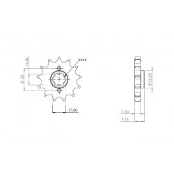 STEEL PIN FOR CHAIN 428 FOR APRILIA RS4 125 2011/2019