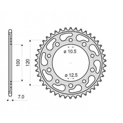 STEEL REAR SPROCKET FOR CHAIN 525 FOR APRILIA CAPONORD 1200