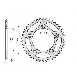 ALUMINIUM REAR SPROCKET FOR 520 CHAIN FOR DUCATI 899 PANIGALE 2013/2015, 959 PANIGALE 2016/2018