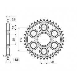 ALUMINIUM REAR SPROCKET FOR 520 CHAIN FOR DUCATI PANIGALE V4 2018/2019, PANIGALE V4 S 2018/2019