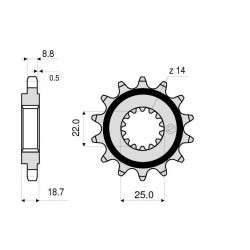 STEEL FRONT SPROCKET FOR CHAIN 50 FOR DUCATI MULTISTRADA 1260/S 2018/2020