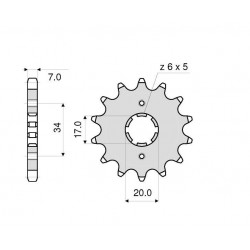STEEL FRONT SPROCKET FOR 428 CHAIN FOR HONDA CBR 125 R 2011/2018