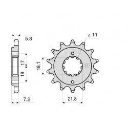 STEEL FRONT SPROCKET FOR CHAIN 520 FOR HONDA CBR 300 R 2014/2019