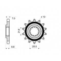 STEEL FRONT SPROCKET FOR CHAIN 525 FOR KAWASAKI Z 900 RS 2018/2020, Z 900 RS CAFE 2018/2020