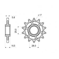 STEEL FRONT SPROCKET FOR CHAIN 520 FOR KTM RC8 1190 2008/2013, SUPERMOTO 950 2005/2008, SUPERMOTO 990 2007/2012