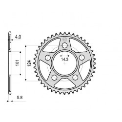 ALUMINIUM REAR SPROCKET FOR ORIGINAL CHAIN 520 FOR KTM RC8 1190 2008/2013, SUPERMOTO 950 2005/2008, SUPERMOTO 990 2007/2012