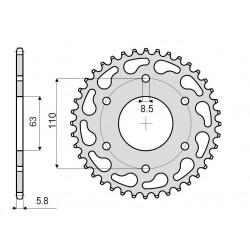 STEEL CROWN FOR CHAIN 520 FOR KTM 390 DUKE 2014/2019