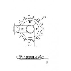 STEEL FRONT SPROCKET FOR ORIGINAL CHAIN 525 FOR SUZUKI V-STROM 650 2004/2020, V-STROM 650 XT 2015/2020