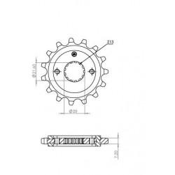 STEEL FRONT SPROCKET FOR ORIGINAL CHAIN 525 FOR SUZUKI GSX-R 750 1998/2016, BANDIT 650 2007/2010, GSX 650 F 2010/2013