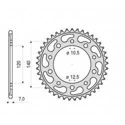 STEEL REAR SPROCKET FOR ORIGINAL CHAIN 525 SUZUKI GSR 600, GSX-R 600 2001/2010, GSX-R 750 2000/2010 (Z 41/45)