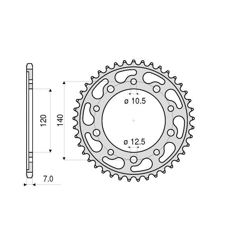 STEEL REAR SPROCKET FOR ORIGINAL CHAIN 525 SUZUKI GSR 600, GSX-R 600 2001/2010, GSX-R 750 2000/2010 (Z 47/50)