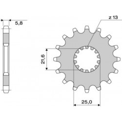 STEEL FRONT SPROCKET FOR ORIGINAL CHAIN 520 FOR SUZUKI SV 650 2016/2020, SV 650 X 2018/2020