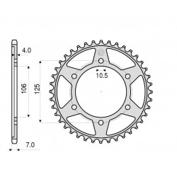 STEEL REAR SPROCKET FOR ORIGINAL CHAIN 525 FOR TRIUMPH TIGER 800 2011/2014, TIGER 800 XC 2011/2014