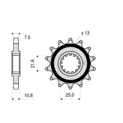 STEEL FRONT SPROCKET FOR ORIGINAL CHAIN 525 FOR YAMAHA R6 2006/2019, TDM 850 1996/1998