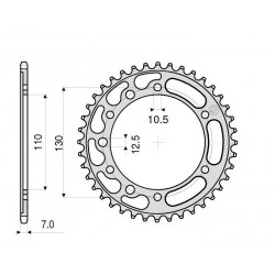 STEEL REAR SPROCKET FOR ORIGINAL CHAIN 525 FOR YAMAHA R6 2006/2019