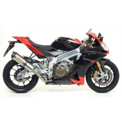 ARROW RACE-TECH ALUMINUM DARK EXHAUST PIPE WITH CATALYTIC FITTING FOR APRILIA RSV4 2009/2014, APPROVED