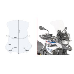 WINDSHIELD GIVI FOR BMW F 750 GS 2018/2020, TRANSPARENT