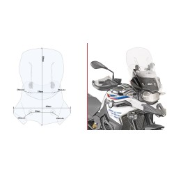 GIVI SLIDING SCREEN FOR BMW F 750 GS 2018/2020, TRANSPARENT