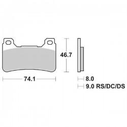 SET PASTIGLIE ANTERIORI DUAL CARBON SBS 809 DC PER HONDA CBR 600 RR 2009/2012