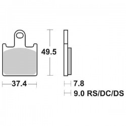 SET PASTIGLIE ANTERIORI DUAL CARBON SBS 838 DC PER KAWASAKI Z 1000 2007/2009