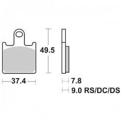 SET PASTIGLIE ANTERIORI DUAL CARBON SBS 838 DC PER KAWASAKI ZX-6R 2007/2008