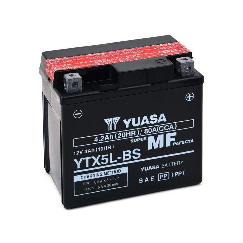 BATTERIA YUASA YTX5L-BS SENZA MANUTENZIONE CON ACIDO A CORREDO PER BETA RR 125 2010/2016