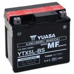 BATTERY YUASA YTX5L-BS WITHOUT MAINTENANCE WITH ACID TO KIT FOR BETA RR 400 2005/2009
