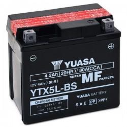 BATTERIA YUASA YTX5L-BS SENZA MANUTENZIONE CON ACIDO A CORREDO PER KTM EXC 520 4T 2000/2002