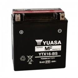 BATTERIA YUASA YTX16-BS SENZA MANUTENZIONE CON ACIDO A CORREDO PER TRIUMPH TIGER 800 XC 2011/2014
