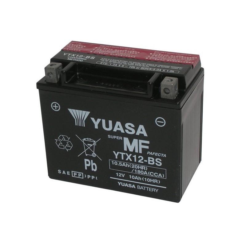 BATTERIA YUASA YTX12-BS SENZA MANUTENZIONE CON ACIDO A CORREDO PER TRIUMPH STREET TWIN 900 2016/2018