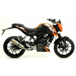 EXHAUST SILENCER ARROW THUNDER IN TITANIUM CUP CARBON CATALYTIC FITTING FOR KTM DUKE 200 2011/2016, APPROVED