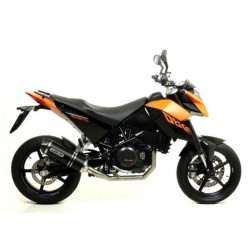 COMPLETE CATALYTIC EXHAUST SYSTEM ARROW DARK CARBON CUP DARK ALUMINUM RACE-TECH FOR KTM DUKE 690 R 2010/2011, APPROVED