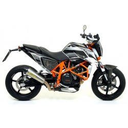 COMPLETE EXHAUST SYSTEM WITH ARROW X-KONE STEEL TERMINAL CARBON BASE FOR KTM DUKE 690 R 2012/2015