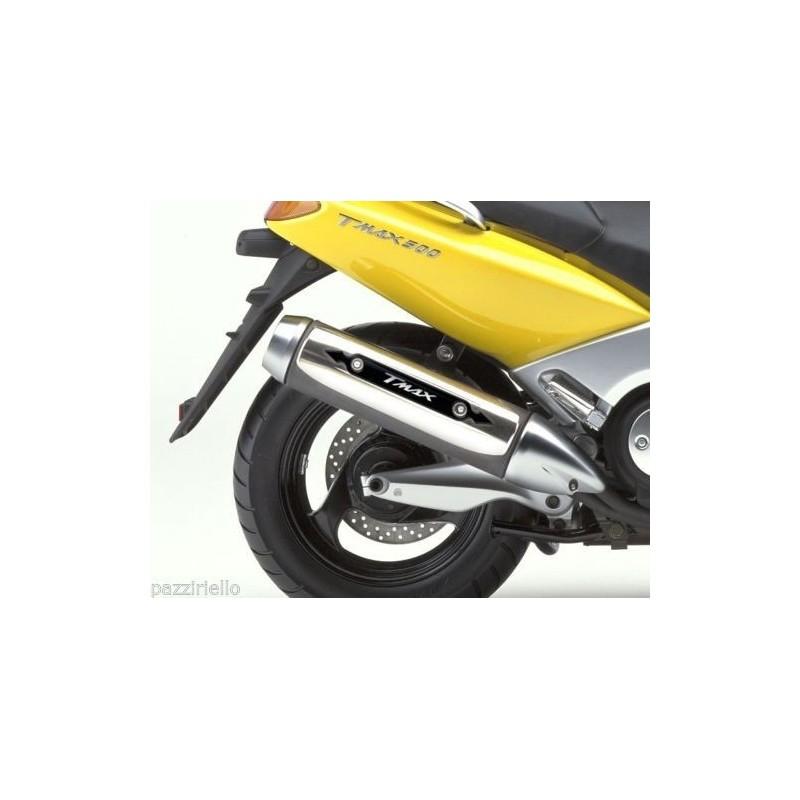 ADESIVO 3D PROTEZIONE CARTER TERMINALE SCARICO PER YAMAHA T-MAX 500 2001/2007 NERO BIANCO