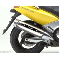 ADESIVO 3D PROTEZIONE CARTER TERMINALE SCARICO PER YAMAHA T-MAX 500 2001/2007 CARBON ROSSO