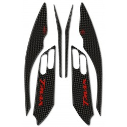 3D STICKERS SIDE BOOMERANG PROTECTIONS FOR YAMAHA T-MAX 500 2001/2007 CARBON RED