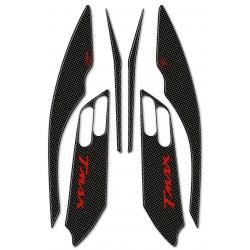 ADESIVI 3D PROTEZIONI BOOMERANG LATERALI PER YAMAHA T-MAX 500 2001/2007 CARBON ROSSO