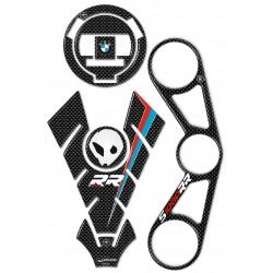 ADESIVI 3D PROTEZIONI SERBATOIO, TAPPO, PIASTRA STERZO BMW S 1000 RR 2012/2014 CARBON