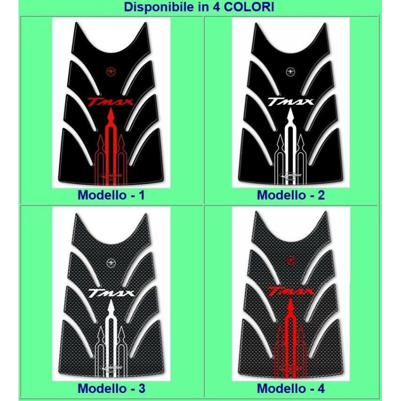 ADESIVO 3D PROTEZIONE SPORTELLO SERBATOIO PER YAMAHA T-MAX 500 2008/2011 NERO BIANCO
