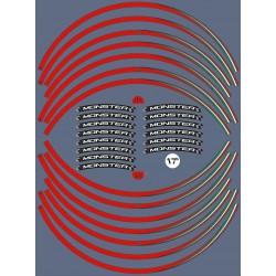 """KIT STICKER EDGES FOR WHEEL RIMS DUCATI MONSTER 17""""RED ITALY FLAG"""