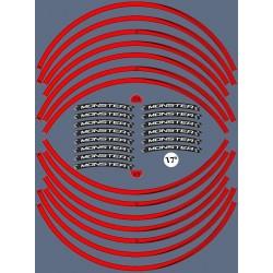 """KIT STICKER EDGES FOR WHEEL RIMS DUCATI MONSTER 17""""RED"""
