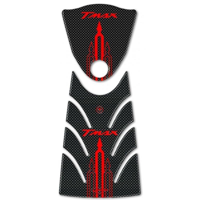 ADESIVI 3D PROTEZIONE TUNNEL, SPORTELLO SERBATOIO PER YAMAHA T-MAX 500 2008/2011 CARBON ROSSO