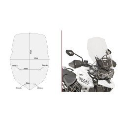 WINDSHIELD GIVI FOR TRIUMPH TIGER 800 XR 2018/2020, TRANSPARENT